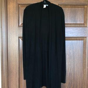 WHBM black long open cardigan